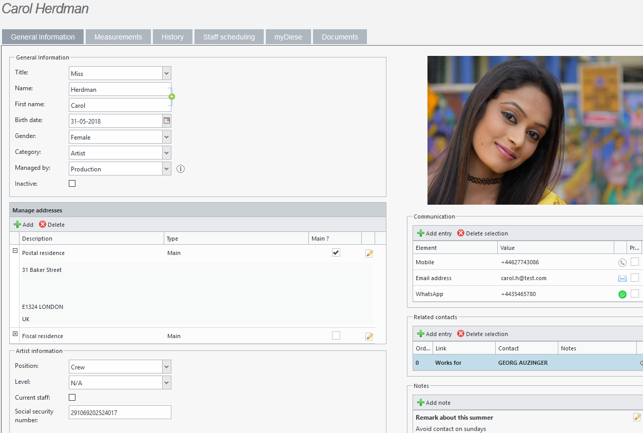 crm and contacts contact sheet Diese